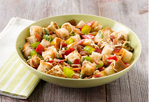 Panzanella Salad with Mozzarella and Bacon