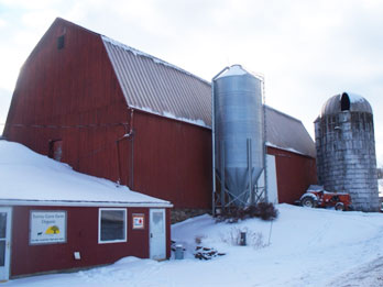 Farm store and barn in winter